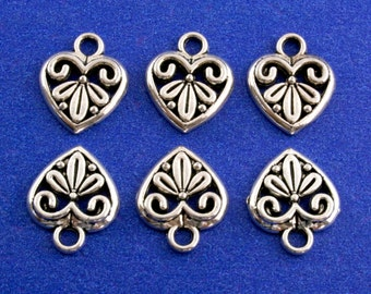 10 pcs -Antique Silver Heart Charm, Silver Heart Pendant, Small Silver Heart, Antiqued Silver Heart