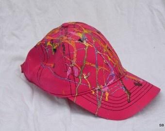 Hand painted pink baseball cap