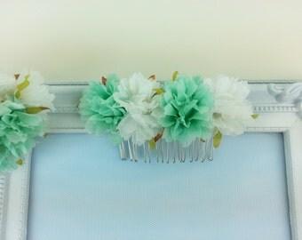 Flower hair comb, flower headpiece, wedding hair accessories, flower hair piece prom hair comb, bridesmaid hair comb, flower girl