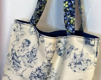 "Alexander Henry ""The Romantics"" Blue and White Tote"