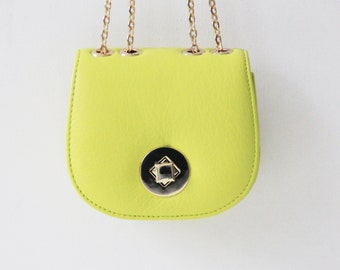 """Small leather handbag """"Chloe"""" in yellow green, lime, genuine leather, clutch, pouches, evening bag, prom, Taschenkinder, bright green, bag"""