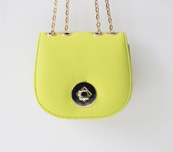 "Small leather handbag ""Chloe"" in yellow green, lime, genuine leather, clutch, pouches, evening bag, prom, Taschenkinder, bright green, bag"