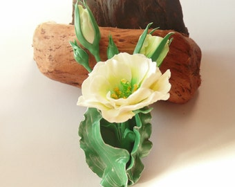 Eustoma brooch white flower pin wedding jewelry white flower jewelry gift for her idea birthday gift polymer clay fashion floral brooch