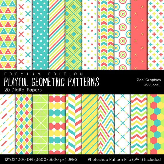 """Playful Geometric Patterns, Digital Paper, 20 Digital Papers (12""""x12""""), Photoshop  Pattern File .PAT Included, Seamless, INSTANT DOWNLOAD from ZoollGraphics  ..."""