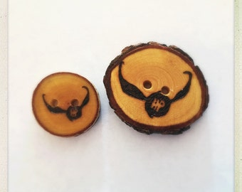 Wood burned Harry Potter buttons