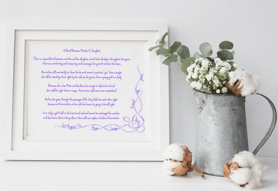 Mother of the Bride Gift ~ Personalised Poem ~ Wedding Gift Wall Art ...
