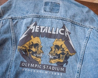 "Mens Levis Metallica 1993 Stockholm Offical Tour Denim Jacket! Size L 46"" 1927"