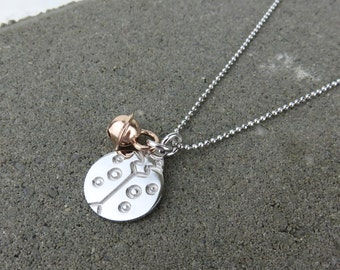 Personalised Silver Lady Bug & Jingle Bell Necklace