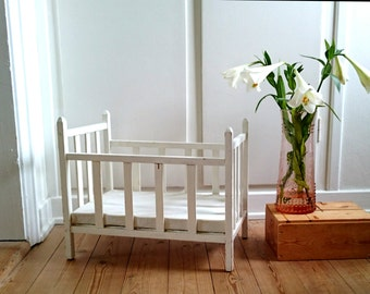 White Painted Vintage Doll Bed