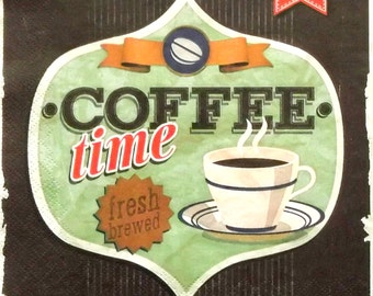 Set of 2 pcs 3-ply ''Coffee time'' retro paper napkins for Decoupage or collectibles 33x33cm, Decopatch napkins