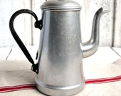 Elegant Vintage French Aluminium Coffee Pot Cafetiere