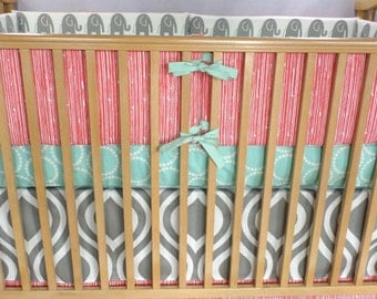 Unique Crib Set in Elephants + Large Waves in Mint/Grey/Coral. Bumpers, Sheet, Skirt.  *Modern Crib Bedding*