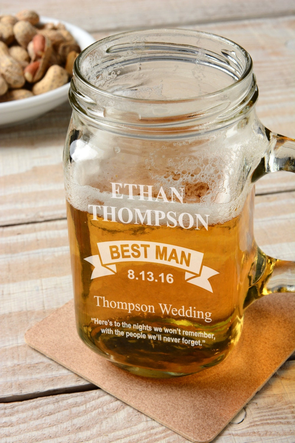 Wedding Gifts Engraved Glasses : Personalized Wedding Favors Glass Beer Mugs Bridesmaid