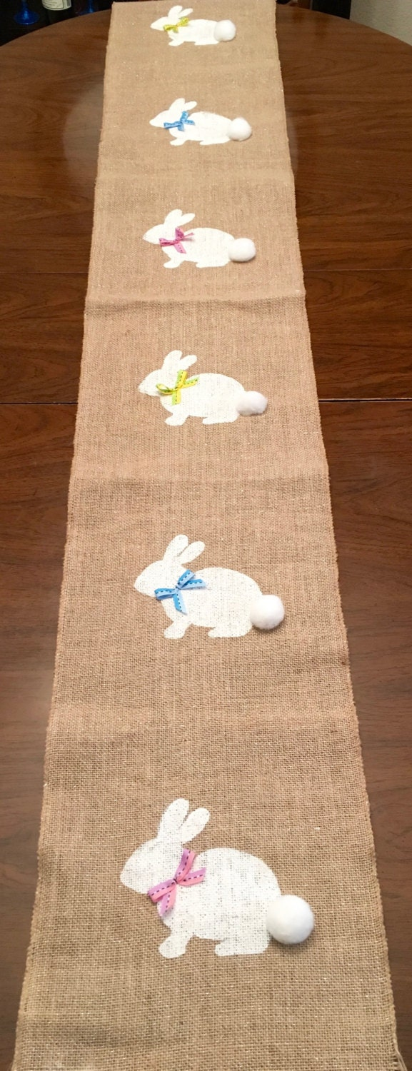 bunny burlap table runner easter burlap table by. Black Bedroom Furniture Sets. Home Design Ideas