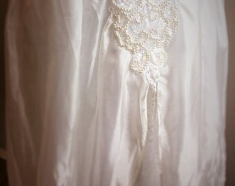 Silk, tulle and vintage lace boho wedding skirt, Large