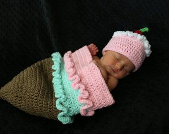 Crochet Icecream Cone Newborn Set