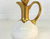 Favorite Bavaria Porcelain China Cruet White and Gold Antique German Oil Vinegar Carafe Bottle with Stopper C. Hutschenreuther 1910 - 1930