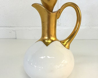 Favorite Bavaria Porcelain China Cruet White and Gold Antique German Oil Vinegar Carafe Bottle with Stopper C. Hutschenreuther 1910 - 1930