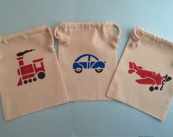 Trains, Planes and Automobile Party Bags- Muslin Bags With Transport Designs, Transport Party Supplies