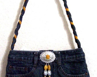 Frog -- Denim Handbag -- Item Number 1209 -- 16 Pockets