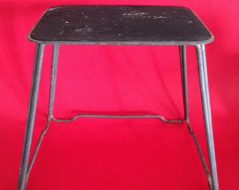 Vintage Metal Step Stool in Dark Gray-Retro, Mid Century, Classic Shape Stool, Plant Stand with Permanent Rubber Non Slip Pad Cottage Decor