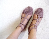 Woman Slippers, Summer Slippers, Valentines gift, Light Pink Slippers, Len Slippers, Elegant slippers, gift for her, Crochet Slippers