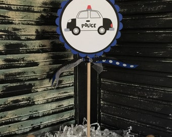 Police Cake Topper- Police Centerpiece-Smash Cake Topper-Dessert Table-Photo Prop-Birthday-Baby Shower-Police Party-Policeman-Policecar