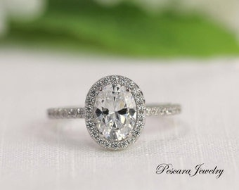 Oval Engagement Ring - Oval Cut Ring - Oval Halo Ring - Wedding Ring - Diamond Stimulants (CZ) - 1.5 Carat - Sterling Silver