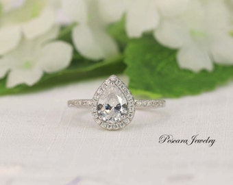 Pear Engagement Ring - Pear Cut Ring - Pear Halo Ring - Wedding Ring - Diamond Stimulants (CZ) - 1 Carat - Sterling Silver