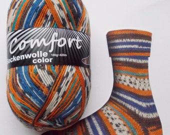 sock yarn, orange-blue-white, 4ply (1115.01)