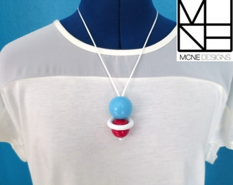 "Fiddle Necklace ""Playful"" - Blue, White & Red . One of a kind piece."
