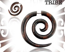 Pair of Brown Sono Wood Super Spirals 18g (1mm) Cheater Plugs Fake Plug Spiral Gauge Gauges Jewelry Tribal Fake Wood Earrings Wicked Tribe
