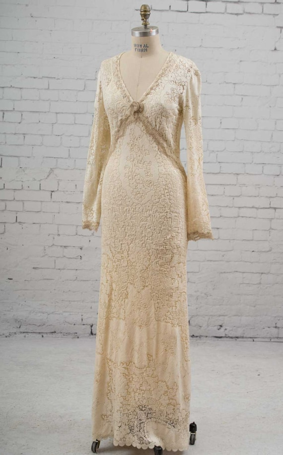 Wedding Dress Of Antique Lace Over A Silk Charmeuse Slip
