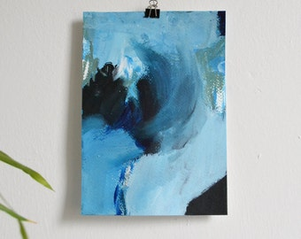 Flow #1 Original Abstract Fine Art acrylic painting on paper, blue abstract painting, water sea painting