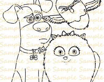 Secret Life Of Pets Coloring Book Digital Pages Sheets Birthday Party Printables Supplies Fun