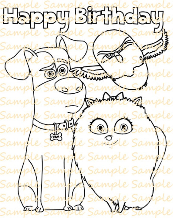Secret Life Of Pets Coloring Book Digital Pages Sheets Birthday Party Printables Supplies Fun Dog Cat Favor PDF