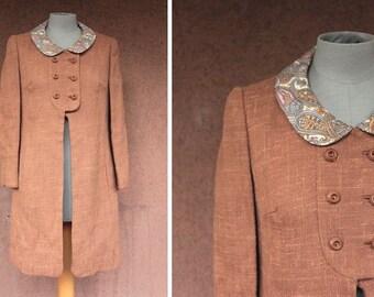SALE! 1960's Brown Wool English Coat - 1960's English Coat Pelsay Collar - Size S