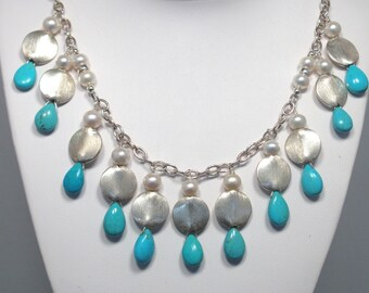 Sleeping Beauty Turquoise, Pearls and Sterling Silver Discs