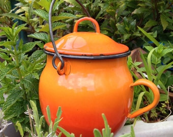 Vintage French enamel orange cooking pot