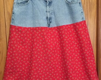 Upcycled Jean Skirt in Red