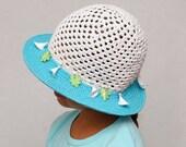 Summer Hat Crochet Girls Sun Hat Girls Summer Hat Wide Brim Hat Crochet Girls Hats Beach Hat baby kids hat Flower Charms Hat Gift for Girls