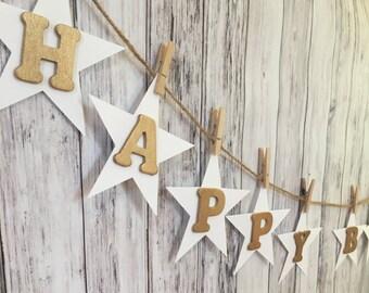 Happy Birthday Banner // Happy Birthday Banner with Stars // Twinkle Twinkle Little Star Banner // Star Birthday Banner