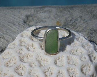 Sea Glass Ring, Green, Size 9