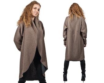 Waterfall Coat, Trench Coat, Winter Jacket, Cashmere Wool Coat, Knee length Coat