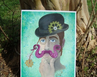 ART PRINT / Mr. Octomonopoeia / Steampunk / Octopus Mustache / Hybrid Painting Paper Print