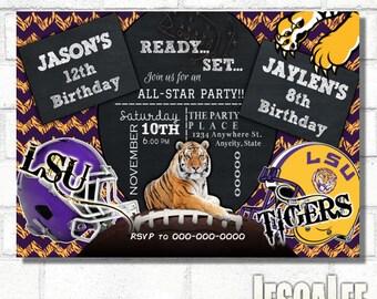 Football Invitation, Printable LSU Invite, Football Party, LSU Tiger Invite, LSU Baby Shower, Lsu Bridal Shower, Lsu Birthday, Tiger Invite
