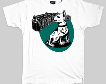 CLEARANCE 60% OFF! English Bull Terrier Organic T-Shirt Eco-Friendly T Shirt - Dog T-Shirt Screen Printed & Handmade by Bullie Printmakers