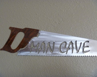Metal Handsaw Man Cave Sign, saw sign, carpenter sign, carpentry sign, carpenter man cave, woodworking man cave, garage sign, woodshop sign