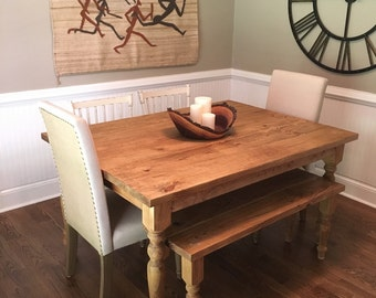 Custom Farmhouse Table- Hand Turned Legs