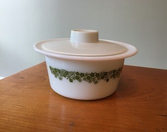 60s Pyrex, Spring Blossom Margarine Dish Vintage 1960s Sixties butter dish milk glass white green Crazy Daisy flower power
